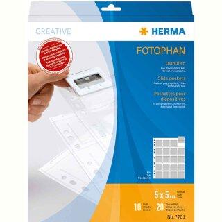 Herma Diahüllen   10 Hüllen klar für 20 Dia´s 5x5 cm bis 1,3 mm