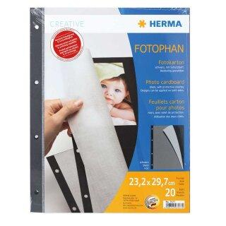 Herma Fotokarton 20 Blatt schwarz mit Pergamin 23x29,7 cm, 4-fach gelocht