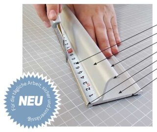 Profi Sicherheitslineal, Länge: 75 cm Aluminium mit Anti Rutschbelag